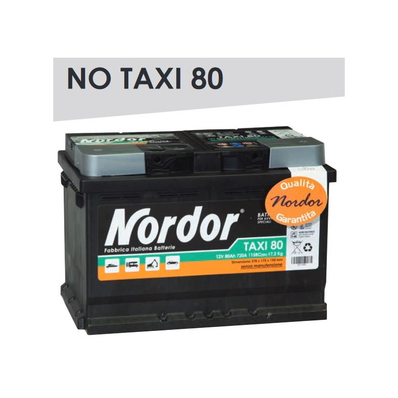 BATTERIA NORDOR 80AH 720A(en) 12v POLARITA' DX Made in Italy